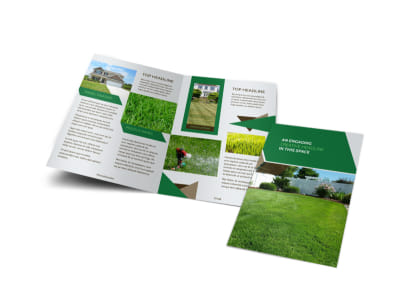 Green Lawn Care Bi-Fold Brochure Template