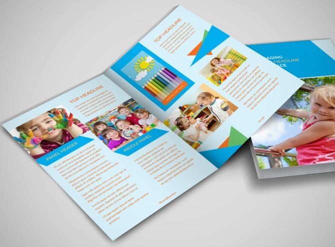 Fun preschool bi fold brochure template for Fun brochure templates