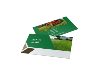 Green Lawn Care Business Card Template preview