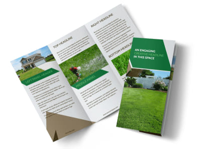 Green Lawn Care Tri-Fold Brochure Template preview