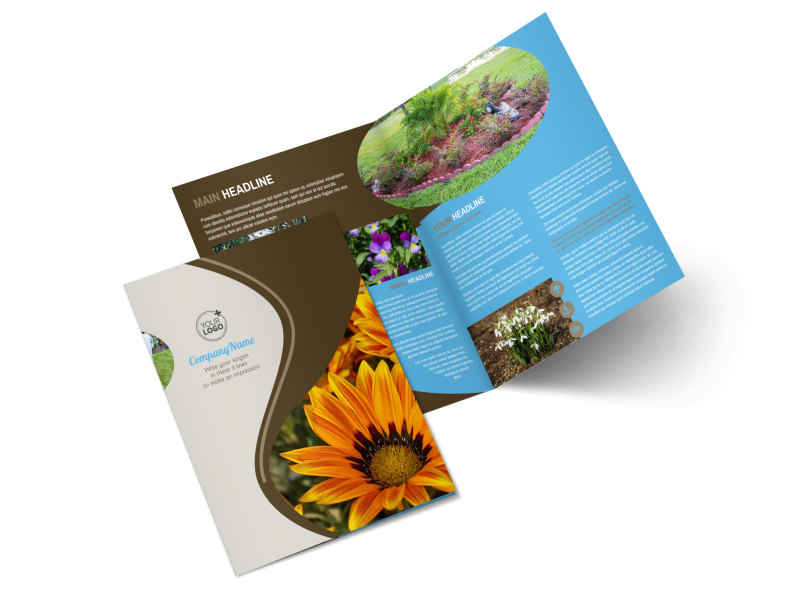 Landscape Garden Store Bi Fold Brochure Template