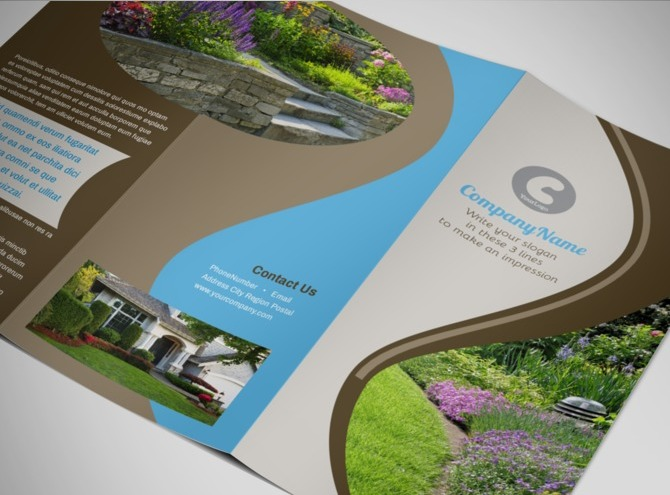 nursery brochure templates free - landscape gardening services store brochure templates