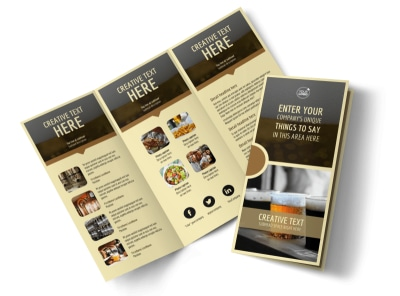 Food & Brewery Tri-Fold Brochure Template preview