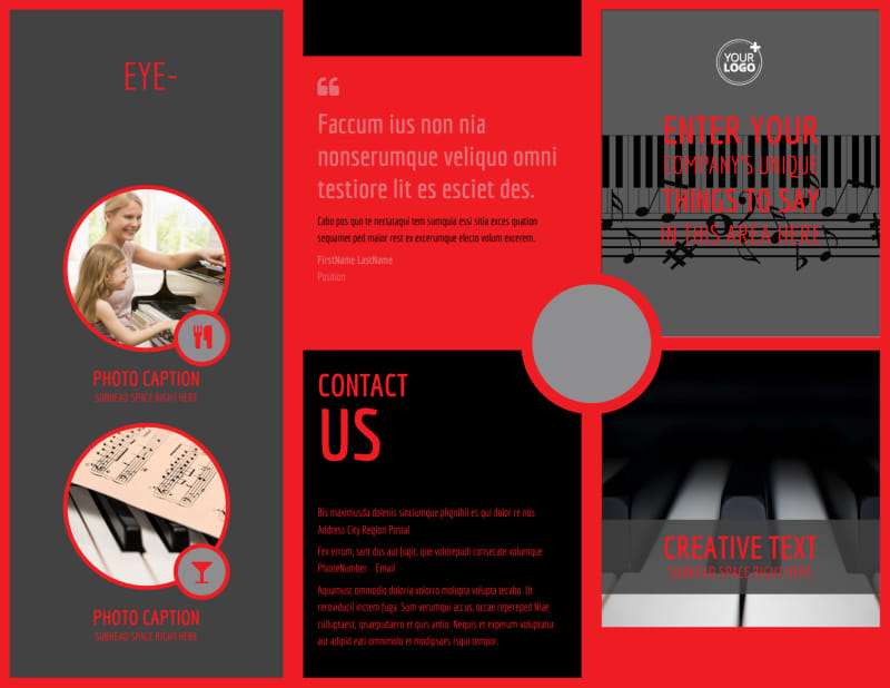 Piano Lessons Brochure Template Preview 2