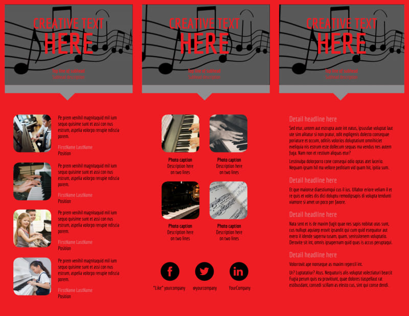 Piano Lessons Brochure Template Preview 3