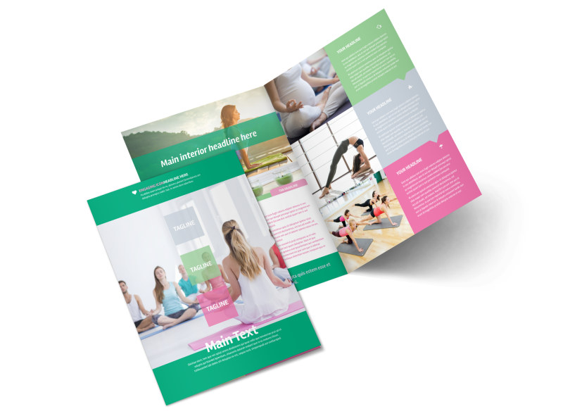 Fit Yoga Class Bi-Fold Brochure Template 2