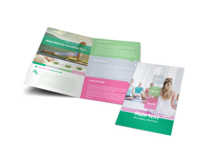Fit Yoga Class Bi-Fold Brochure Template preview