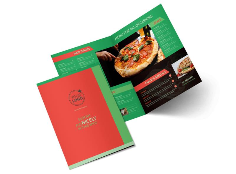 Pizza Restaurant Menu Bi-Fold Brochure Template 2