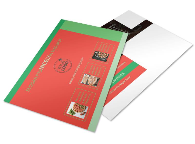 Pizza Restaurant Menu Postcard Template 2