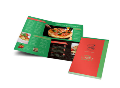 Pizza Restaurant Menu Bi-Fold Brochure Template
