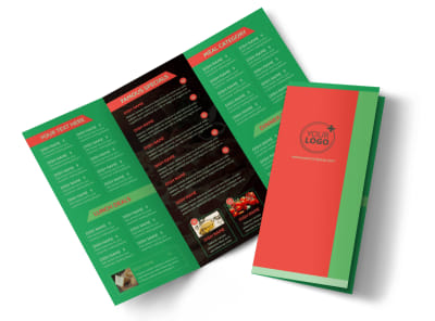 Pizza Restaurant Menu Tri-Fold Brochure Template