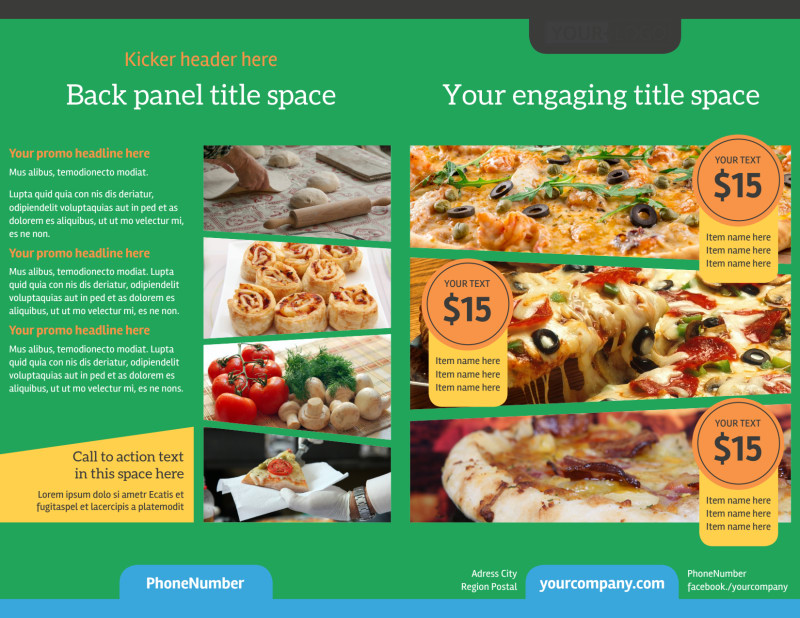 Yummy Pizza Restaurant Brochure Template Preview 2