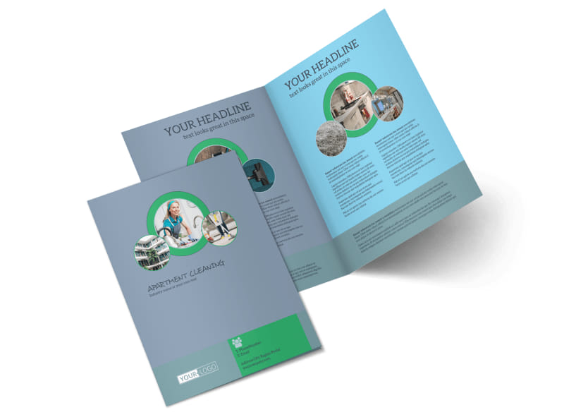 Affordable Apartment Cleaning Bi-Fold Brochure Template 2