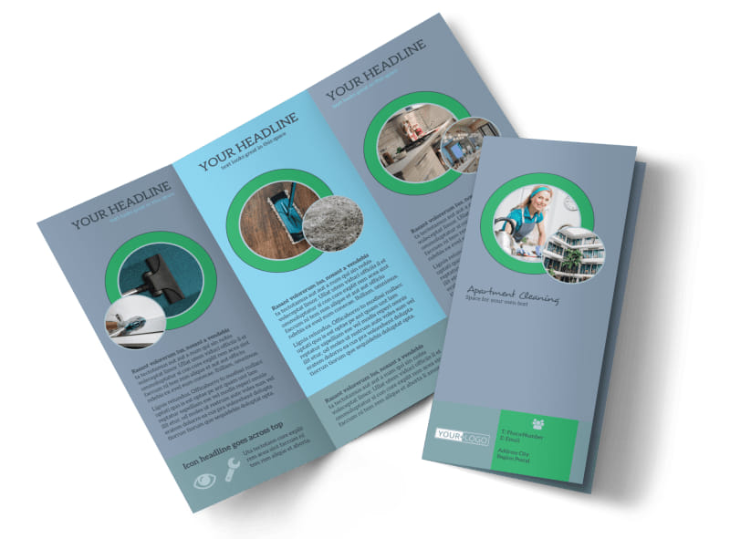 Affordable Apartment Cleaning Tri-Fold Brochure Template