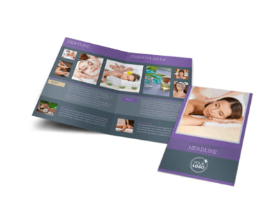 Relaxing Day Spa Bi-Fold Brochure Template preview