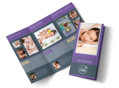 Relaxing Day Spa Tri-Fold Brochure Template preview