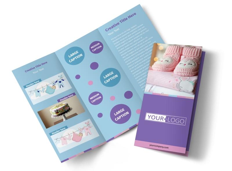 Fun Baby Shower Service Tri-Fold Brochure Template