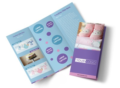 Fun Baby Shower Service Tri-Fold Brochure Template preview