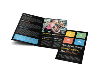 Top Fitness Center Bi-Fold Brochure Template preview