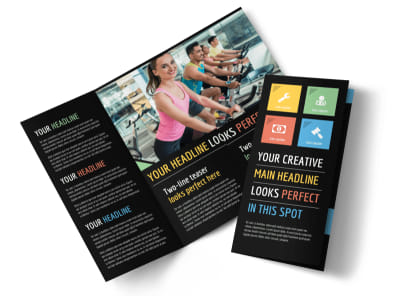 Top Fitness Center Tri-Fold Brochure Template preview