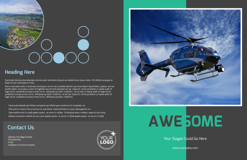 Scenic Helicopter Tours Brochure Template Preview 2