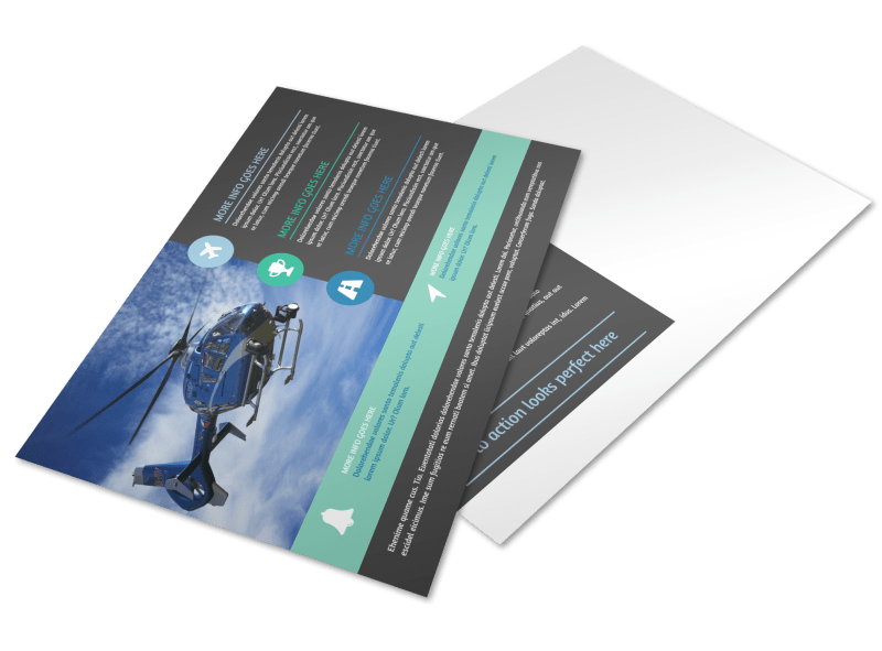Scenic Helicopter Tours Postcard Template Preview 1