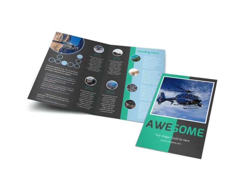 Fly High Air Travel Bi-Fold Brochure Template