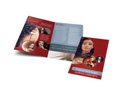Fancy Hair Salon Bi-Fold Brochure Template preview