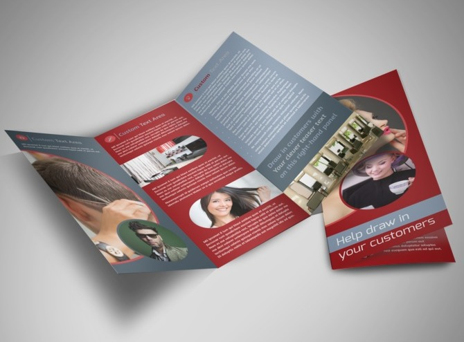 Fancy hair salon tri fold brochure template for Fancy brochure templates
