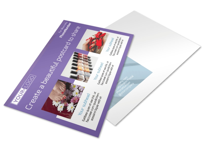 Pedi & Mani Beauty Services Postcard Template 2