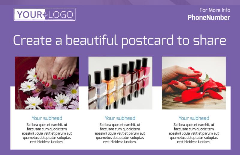 Pedi & Mani Beauty Services Postcard Template Preview 2