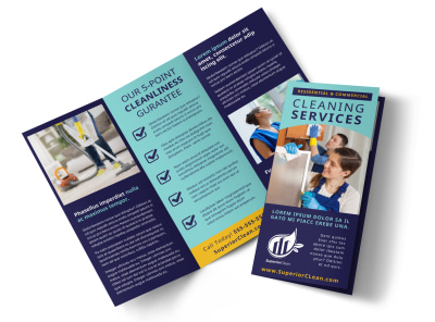 General Cleaning Services Tri-Fold Brochure Template preview