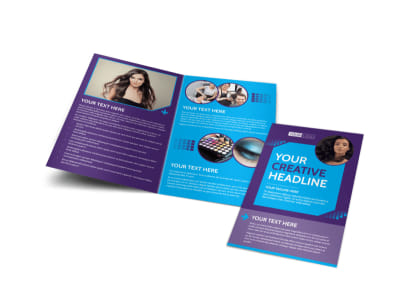 Beauty & Hair Salon Studio Bi-Fold Brochure Template preview