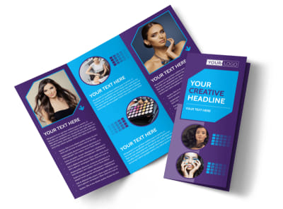 Beauty & Hair Salon Studio Tri-Fold Brochure Template preview