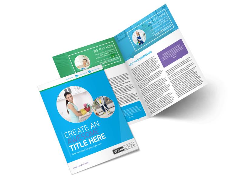 Top House Cleaning Service Bi-Fold Brochure Template 2