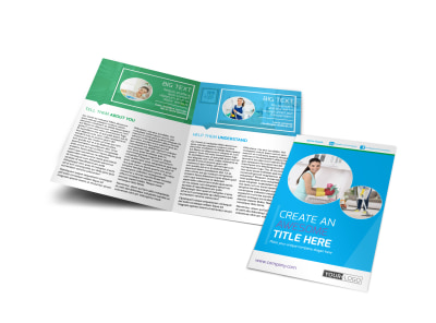 Top House Cleaning Service Bi-Fold Brochure Template preview