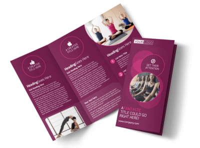 Core Yoga Fitness Tri-Fold Brochure Template preview