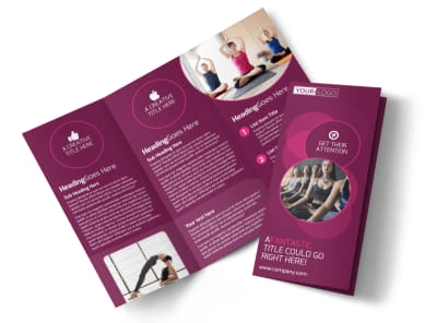 Core Yoga Fitness Tri-Fold Brochure Template