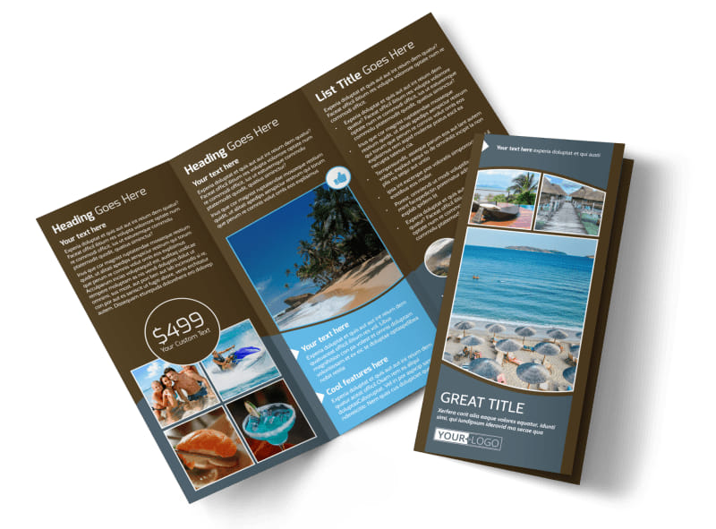 Luxury Ocean Beach Resort Tri-Fold Brochure Template