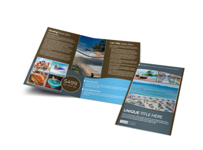 Luxury Ocean Beach Resort Bi-Fold Brochure Template
