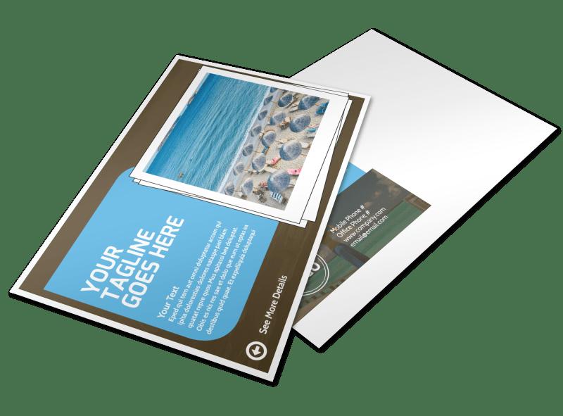 Luxury Ocean Beach Resort Postcard Template Preview 1