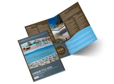 Luxury Ocean Beach Resort Bi-Fold Brochure Template 2