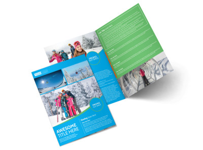 Popular Ski Resort Bi-Fold Brochure Template 2