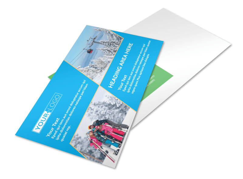 Popular Ski Resort Postcard Template 2