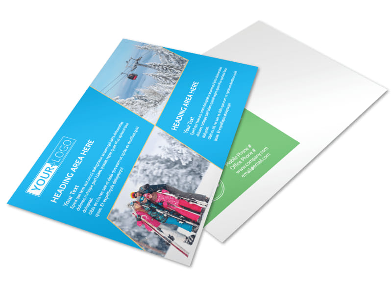 Popular Ski Resort Postcard Template