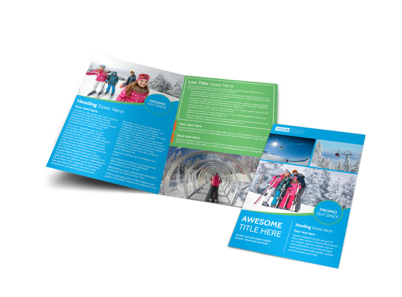 Popular Ski Resort Bi-Fold Brochure Template