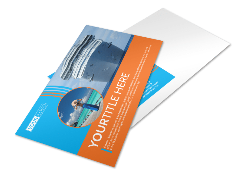 Cruise Ship Vacation Postcard Template Preview 1