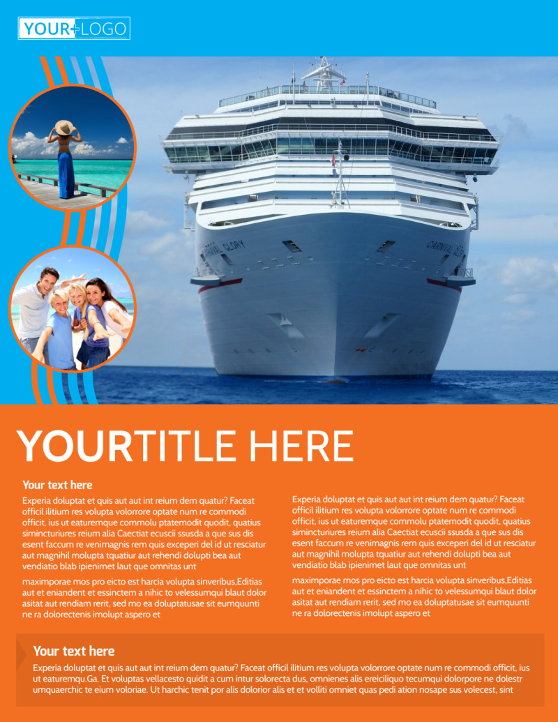 Cruise Ship Vacation Flyer Template Preview 2