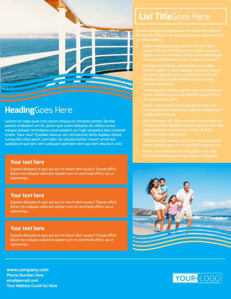 Cruise Ship Vacation Flyer Template Preview 3