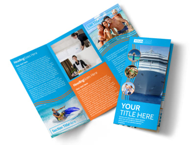 Cruise Ship Vacation Tri-Fold Brochure Template preview